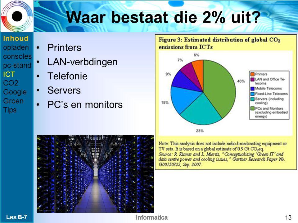 informatica Waar bestaat die 2% uit? Printers LAN-verbdingen Telefonie Servers PC's en monitors Les B-7 13 Inhoud opladen consoles pc-stand ICT CO2 Go