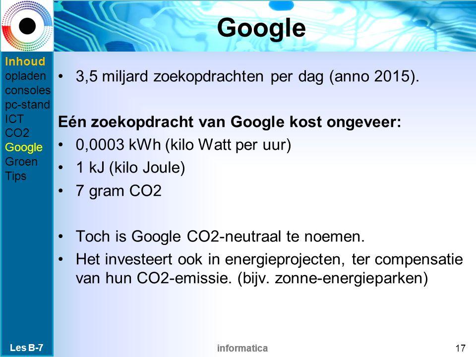 informatica Google 3,5 miljard zoekopdrachten per dag (anno 2015). Eén zoekopdracht van Google kost ongeveer: 0,0003 kWh (kilo Watt per uur) 1 kJ (kil