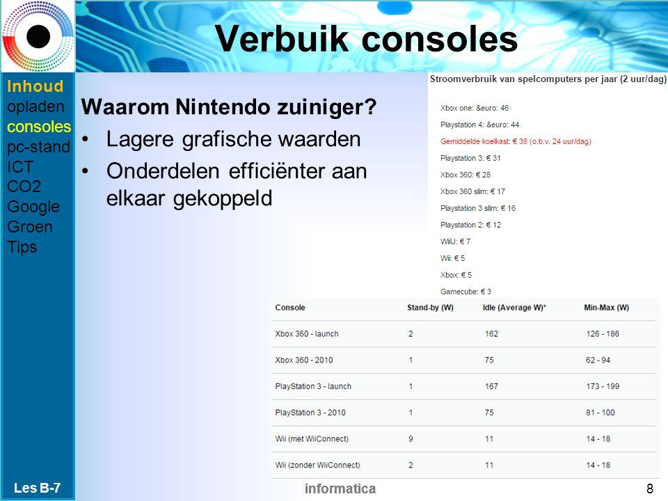 informatica Verbuik consoles Waarom Nintendo zuiniger? Lagere grafische waarden Onderdelen efficiënter aan elkaar gekoppeld Les B-7 8 Inhoud opladen c
