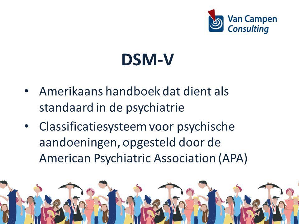 DSM-V Amerikaans handboek dat dient als standaard in de psychiatrie Classificatiesysteem voor psychische aandoeningen, opgesteld door de American Psyc