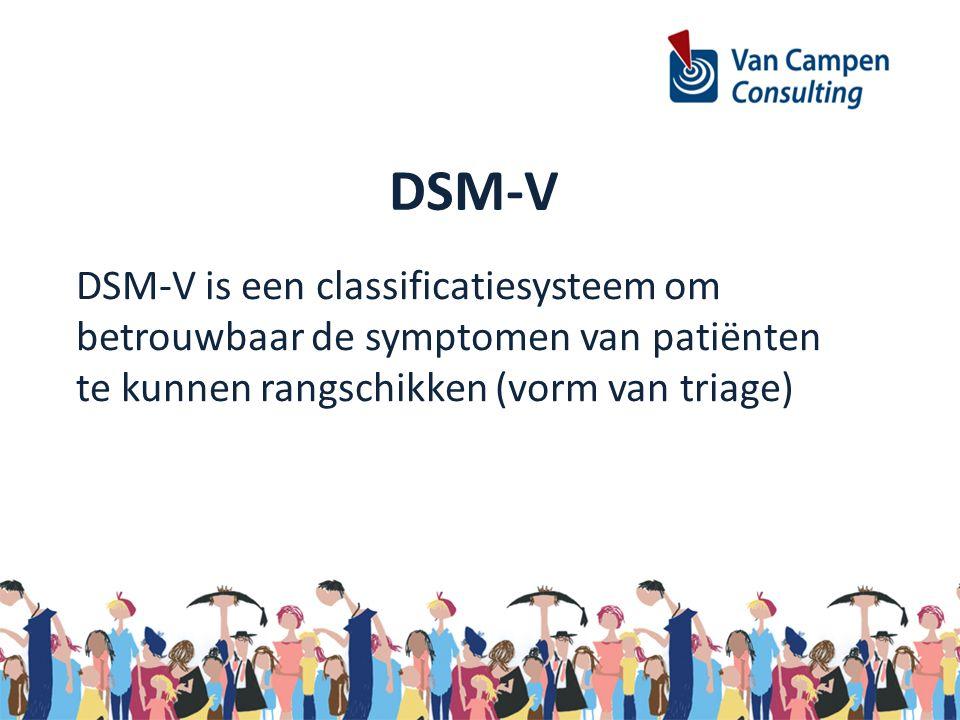 DSM-V DSM-V is een classificatiesysteem om betrouwbaar de symptomen van patiënten te kunnen rangschikken (vorm van triage)