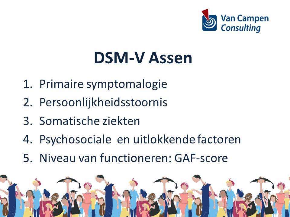 DSM-V Assen 1.Primaire symptomalogie 2.Persoonlijkheidsstoornis 3.Somatische ziekten 4.Psychosociale en uitlokkende factoren 5.Niveau van functioneren: GAF-score