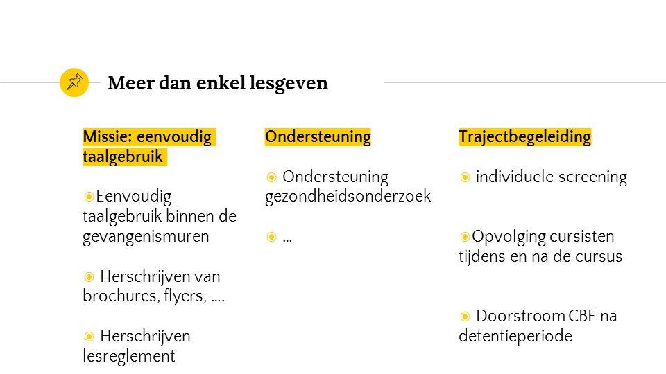 Meer dan enkel lesgeven Missie: eenvoudig taalgebruik ◉ Eenvoudig taalgebruik binnen de gevangenismuren ◉ Herschrijven van brochures, flyers, ….
