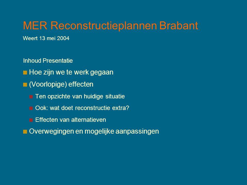 MER Reconstructieplannen Brabant Weert 13 mei 2004 Inhoud Presentatie Hoe zijn we te werk gegaan (Voorlopige) effecten Ten opzichte van huidige situatie Ook: wat doet reconstructie extra.