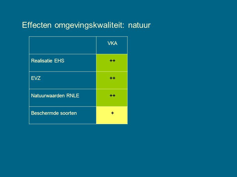 Effecten omgevingskwaliteit: natuur VKA Realisatie EHS++ EVZ++ Natuurwaarden RNLE++ Beschermde soorten+