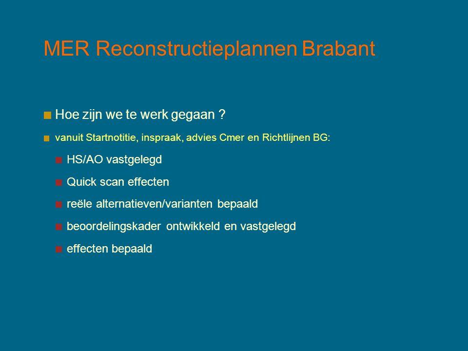 MER Reconstructieplannen Brabant Hoe zijn we te werk gegaan ? vanuit Startnotitie, inspraak, advies Cmer en Richtlijnen BG: HS/AO vastgelegd Quick sca