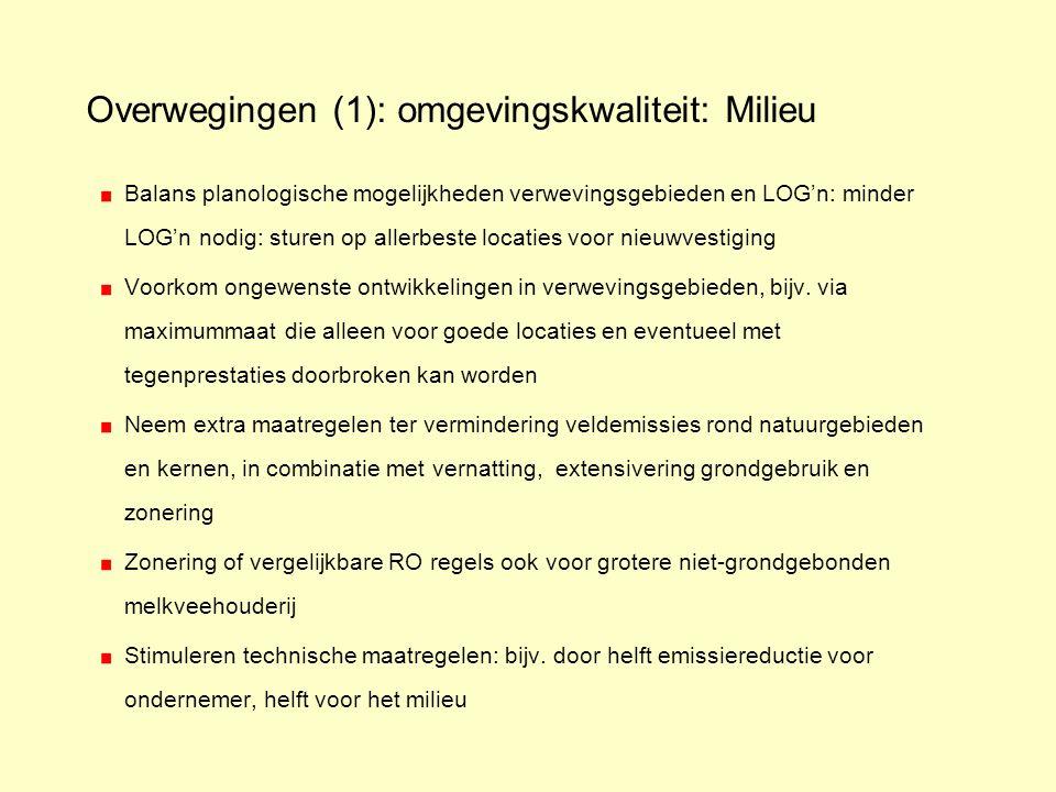 Overwegingen (1): omgevingskwaliteit: Milieu Balans planologische mogelijkheden verwevingsgebieden en LOG'n: minder LOG'n nodig: sturen op allerbeste locaties voor nieuwvestiging Voorkom ongewenste ontwikkelingen in verwevingsgebieden, bijv.