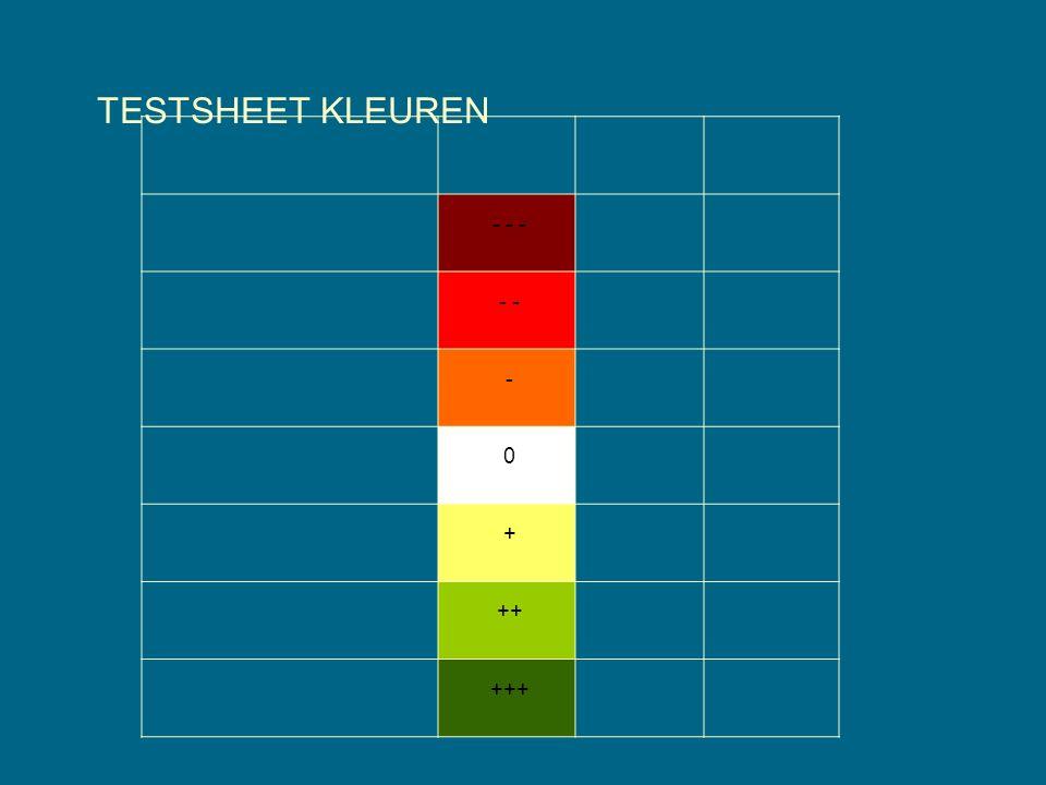 TESTSHEET KLEUREN - - - - - 0 + ++ +++