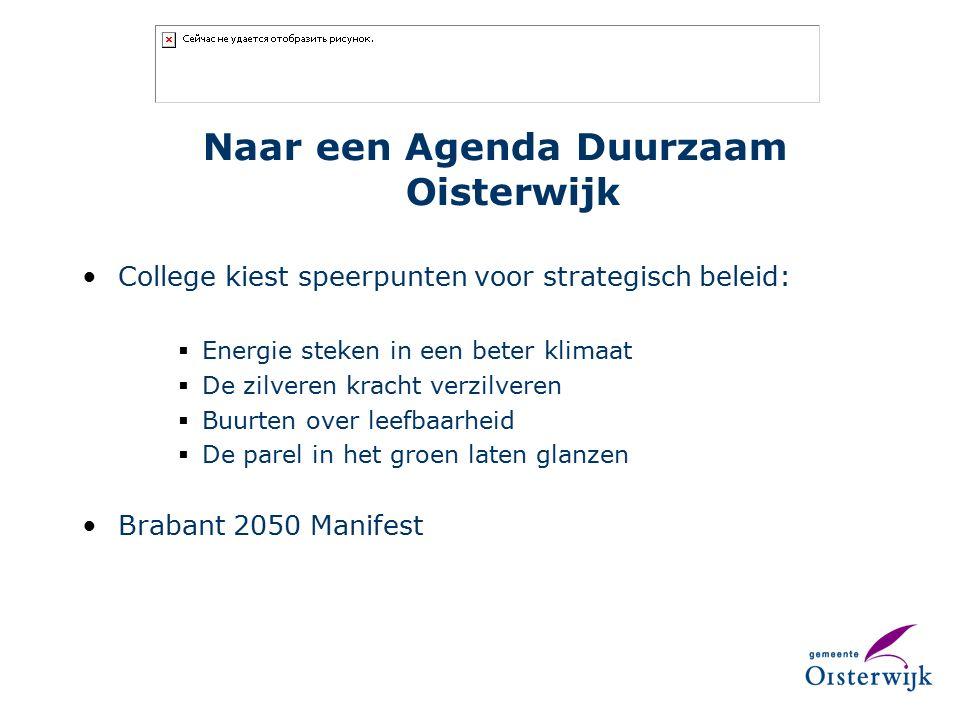 Naar een Agenda Duurzaam Oisterwijk College kiest speerpunten voor strategisch beleid:  Energie steken in een beter klimaat  De zilveren kracht verzilveren  Buurten over leefbaarheid  De parel in het groen laten glanzen Brabant 2050 Manifest