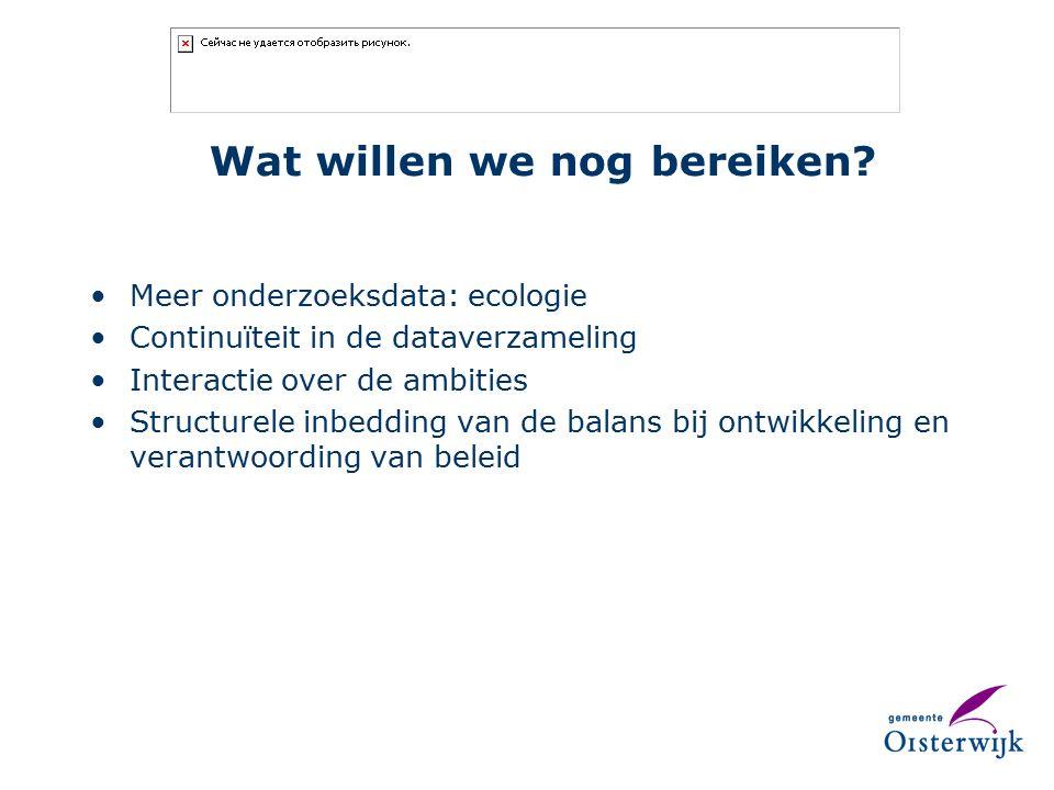 Wat willen we nog bereiken? Meer onderzoeksdata: ecologie Continuïteit in de dataverzameling Interactie over de ambities Structurele inbedding van de