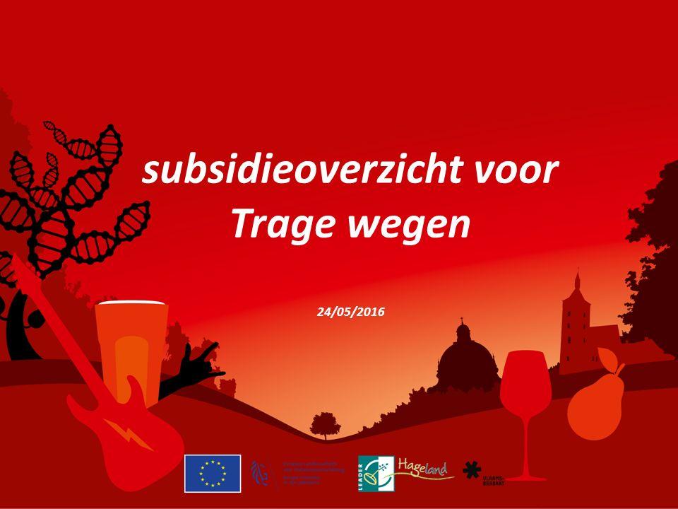 subsidieoverzicht voor Trage wegen 24/05/2016