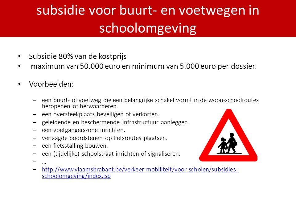 PDPOIII 2014-2020 Subsidie 80% van de kostprijs maximum van 50.000 euro en minimum van 5.000 euro per dossier.