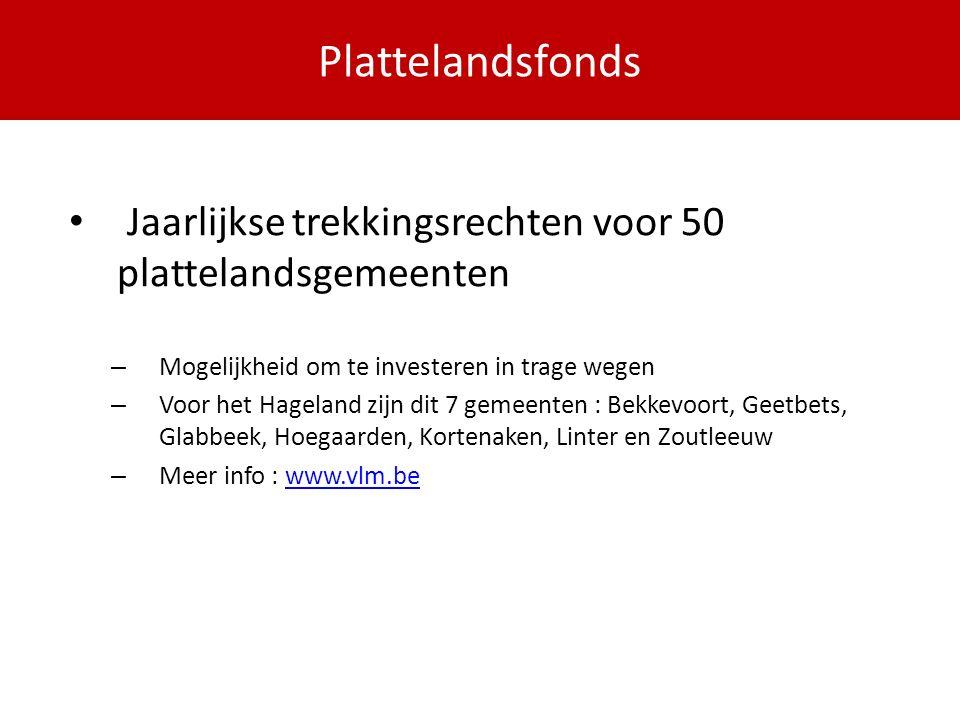 PDPOIII 2014-2020 Jaarlijkse trekkingsrechten voor 50 plattelandsgemeenten – Mogelijkheid om te investeren in trage wegen – Voor het Hageland zijn dit 7 gemeenten : Bekkevoort, Geetbets, Glabbeek, Hoegaarden, Kortenaken, Linter en Zoutleeuw – Meer info : www.vlm.bewww.vlm.be Plattelandsfonds