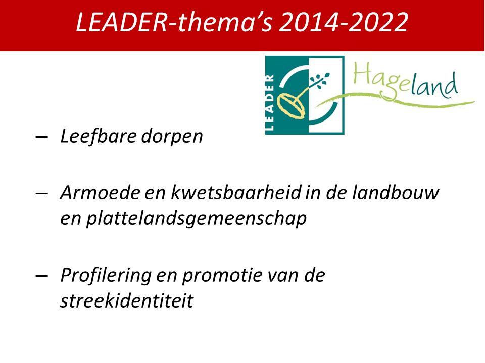 LEADER-thema's 2014-2022 – Leefbare dorpen – Armoede en kwetsbaarheid in de landbouw en plattelandsgemeenschap – Profilering en promotie van de streekidentiteit