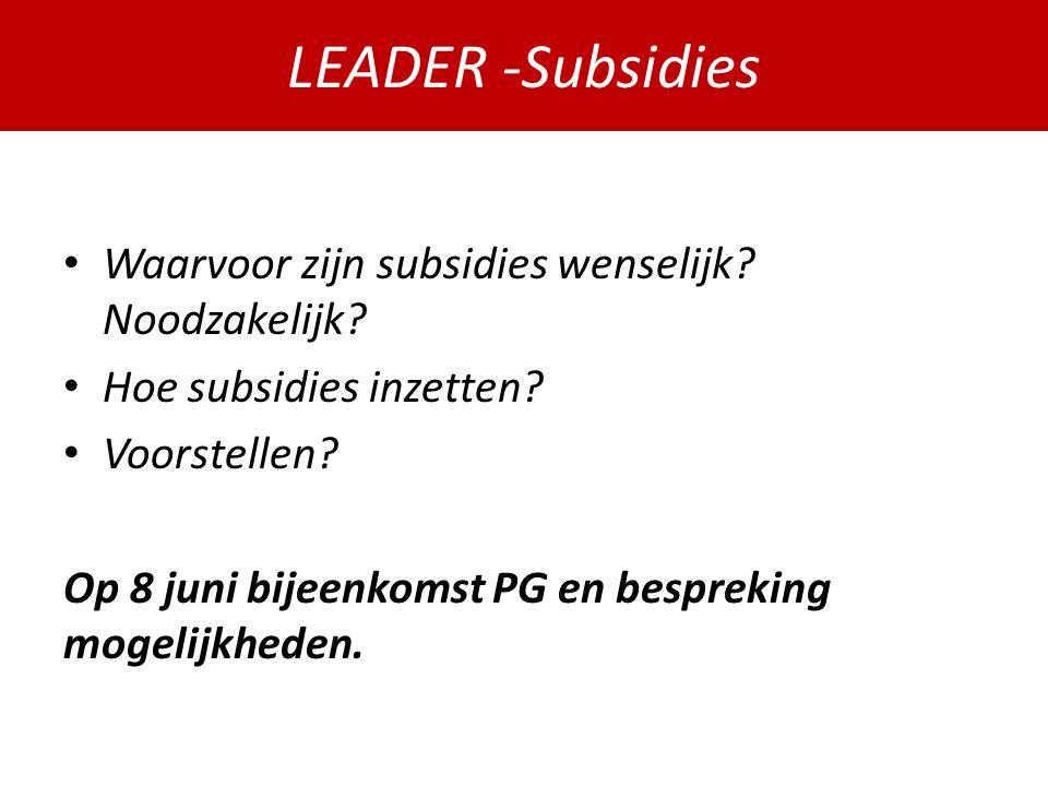 PDPOIII 2014-2020 Waarvoor zijn subsidies wenselijk.