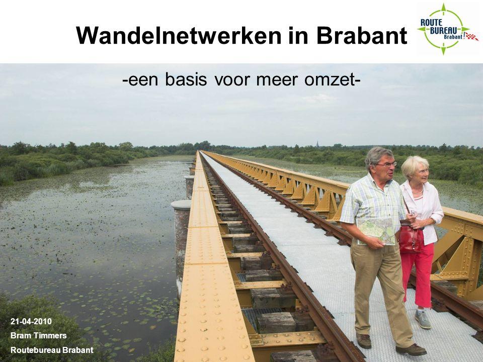 Wandelnetwerken in Brabant -een basis voor meer omzet- 21-04-2010 Bram Timmers Routebureau Brabant