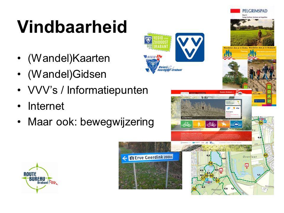 Vindbaarheid (Wandel)Kaarten (Wandel)Gidsen VVV's / Informatiepunten Internet Maar ook: bewegwijzering