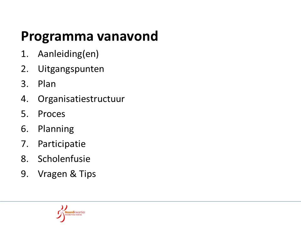 Programma vanavond 1.Aanleiding(en) 2.Uitgangspunten 3.Plan 4.Organisatiestructuur 5.Proces 6.Planning 7.Participatie 8.Scholenfusie 9.Vragen & Tips