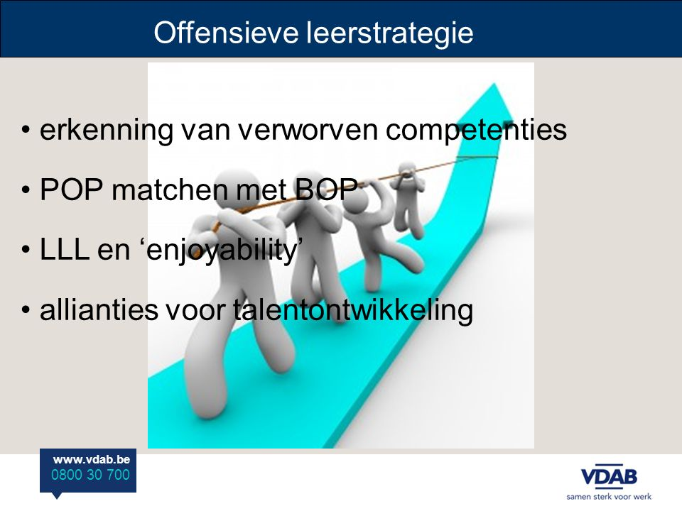 www.vdab.be 0800 30 700 erkenning van verworven competenties POP matchen met BOP LLL en 'enjoyability' allianties voor talentontwikkeling Offensieve leerstrategie