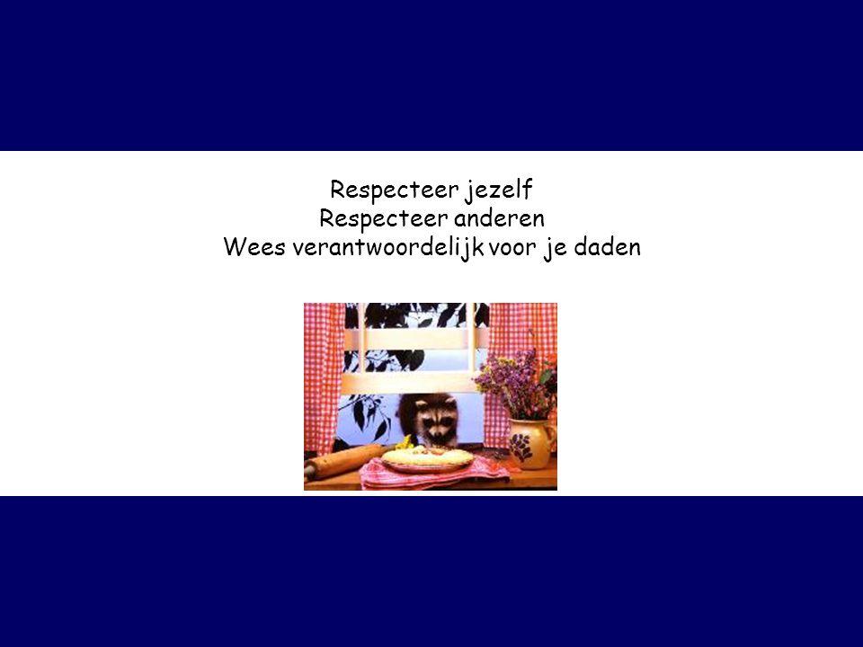 Respecteer jezelf Respecteer anderen Wees verantwoordelijk voor je daden