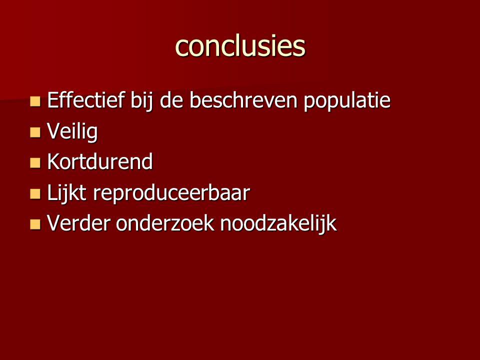 conclusies Effectief bij de beschreven populatie Effectief bij de beschreven populatie Veilig Veilig Kortdurend Kortdurend Lijkt reproduceerbaar Lijkt reproduceerbaar Verder onderzoek noodzakelijk Verder onderzoek noodzakelijk