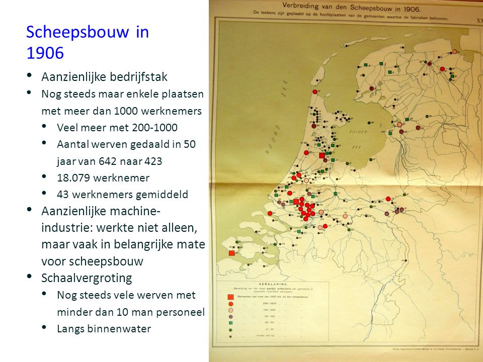 Scheepsbouw in 1906 Aanzienlijke bedrijfstak Nog steeds maar enkele plaatsen met meer dan 1000 werknemers Veel meer met 200-1000 Aantal werven gedaald