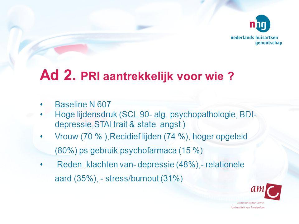 Ad 2. PRI aantrekkelijk voor wie . Baseline N 607 Hoge lijdensdruk (SCL 90- alg.