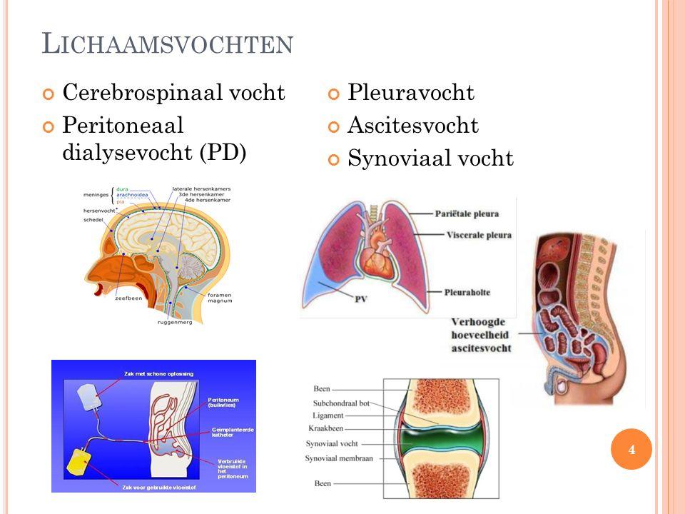 L ICHAAMSVOCHTEN Cerebrospinaal vocht Peritoneaal dialysevocht (PD) Pleuravocht Ascitesvocht Synoviaal vocht 4