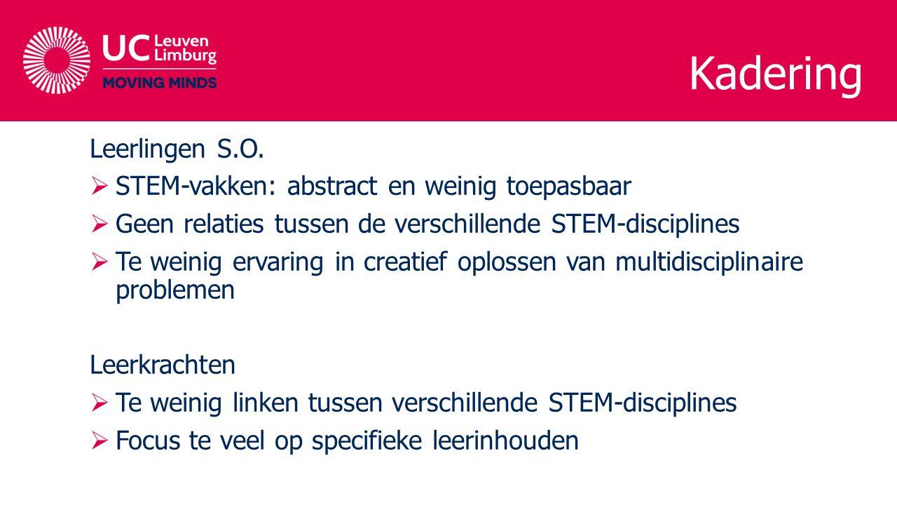 Kadering Leerlingen S.O.  STEM-vakken: abstract en weinig toepasbaar  Geen relaties tussen de verschillende STEM-disciplines  Te weinig ervaring in