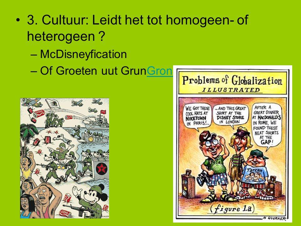 3. Cultuur: Leidt het tot homogeen- of heterogeen ? –McDisneyfication –Of Groeten uut GrunGroningen.ppsGroningen.pps