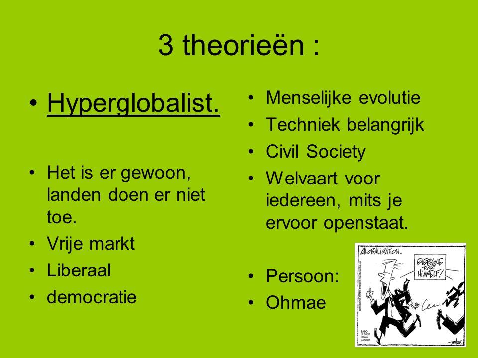 3 theorieën : Hyperglobalist. Het is er gewoon, landen doen er niet toe. Vrije markt Liberaal democratie Menselijke evolutie Techniek belangrijk Civil
