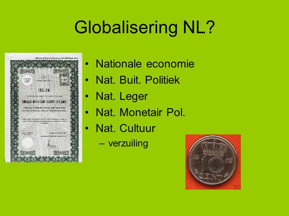 Globalisering NL? Nationale economie Nat. Buit. Politiek Nat. Leger Nat. Monetair Pol. Nat. Cultuur –verzuiling