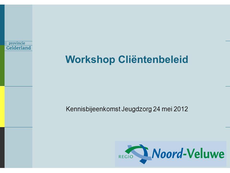 Workshop Cliëntenbeleid Kennisbijeenkomst Jeugdzorg 24 mei 2012