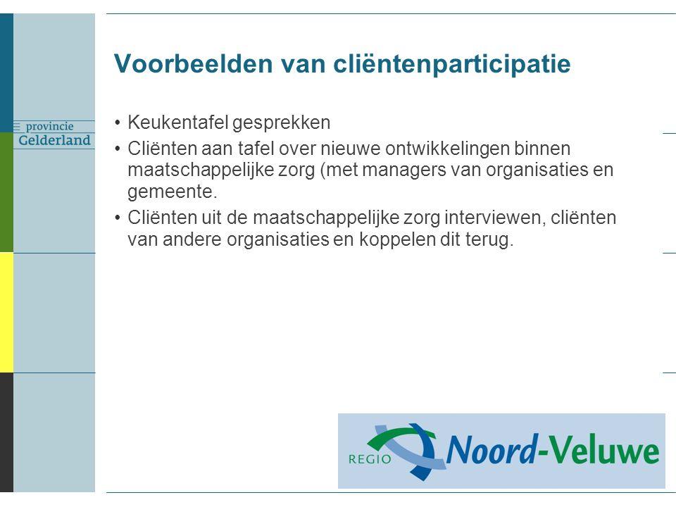 Voorbeelden van cliëntenparticipatie Keukentafel gesprekken Cliënten aan tafel over nieuwe ontwikkelingen binnen maatschappelijke zorg (met managers van organisaties en gemeente.