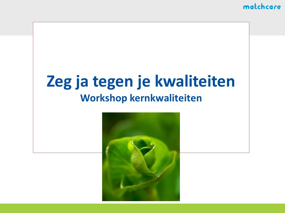 Zeg ja tegen je kwaliteiten Workshop kernkwaliteiten