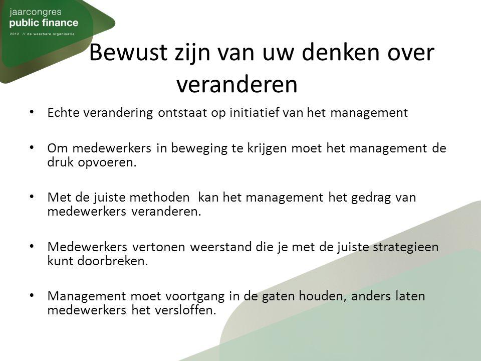 Bewust zijn van uw denken over veranderen Echte verandering ontstaat op initiatief van het management Om medewerkers in beweging te krijgen moet het management de druk opvoeren.