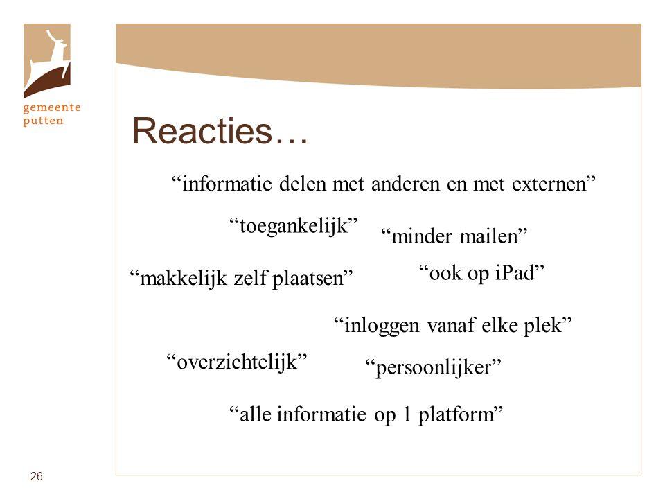Reacties… 26 makkelijk zelf plaatsen informatie delen met anderen en met externen minder mailen toegankelijk inloggen vanaf elke plek alle informatie op 1 platform overzichtelijk persoonlijker ook op iPad