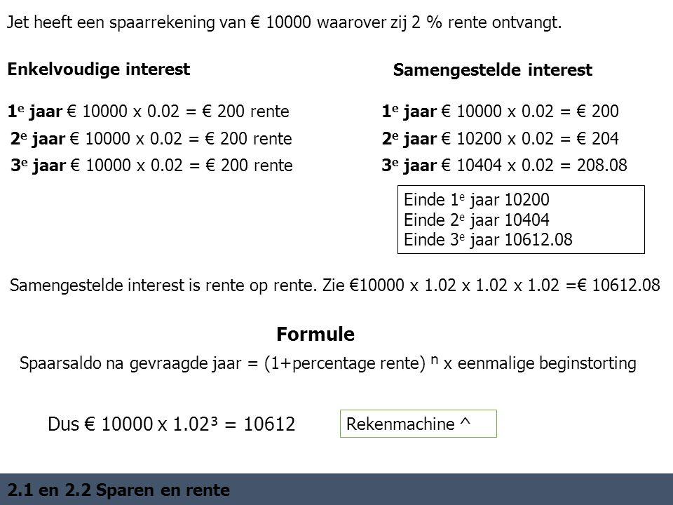 Enkelvoudige interest Jet heeft een spaarrekening van € 10000 waarover zij 2 % rente ontvangt.