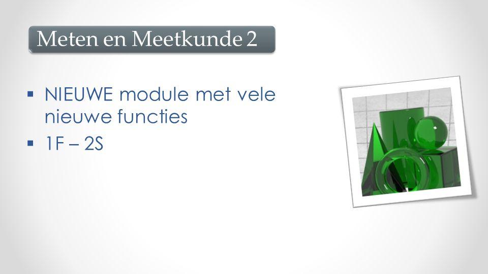  NIEUWE module met vele nieuwe functies  1F – 2S Meten en Meetkunde 2