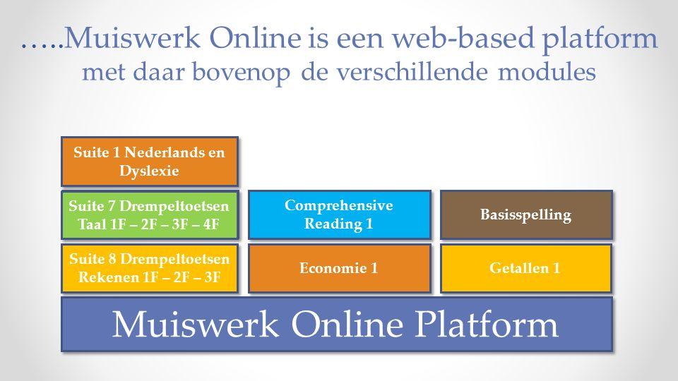 ….. Muiswerk Online is een web-based platform met daar bovenop de verschillende modules Muiswerk Online Platform Suite 1 Nederlands en Dyslexie Suite
