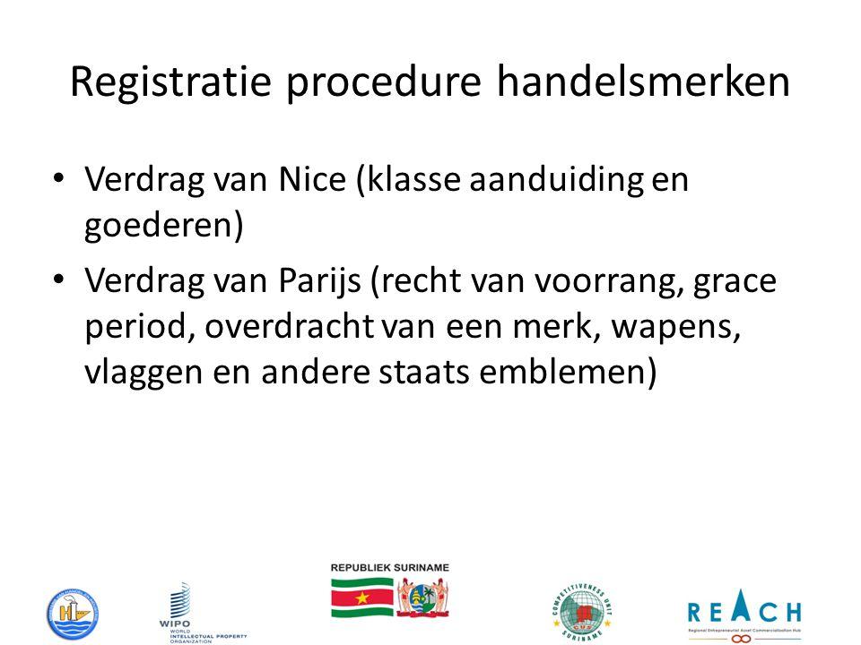 Registratie procedure handelsmerken Verdrag van Nice (klasse aanduiding en goederen) Verdrag van Parijs (recht van voorrang, grace period, overdracht van een merk, wapens, vlaggen en andere staats emblemen)