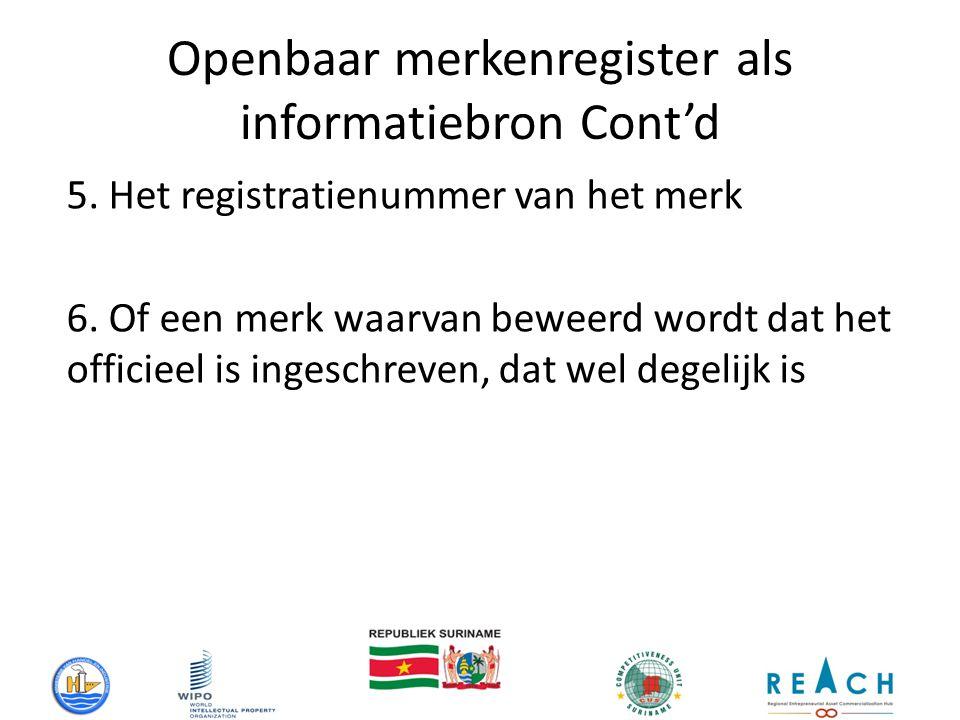 Openbaar merkenregister als informatiebron Cont'd 5.