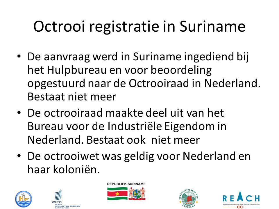 Octrooi registratie in Suriname De aanvraag werd in Suriname ingediend bij het Hulpbureau en voor beoordeling opgestuurd naar de Octrooiraad in Nederland.