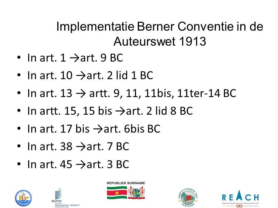 Implementatie Berner Conventie in de Auteurswet 1913 In art.