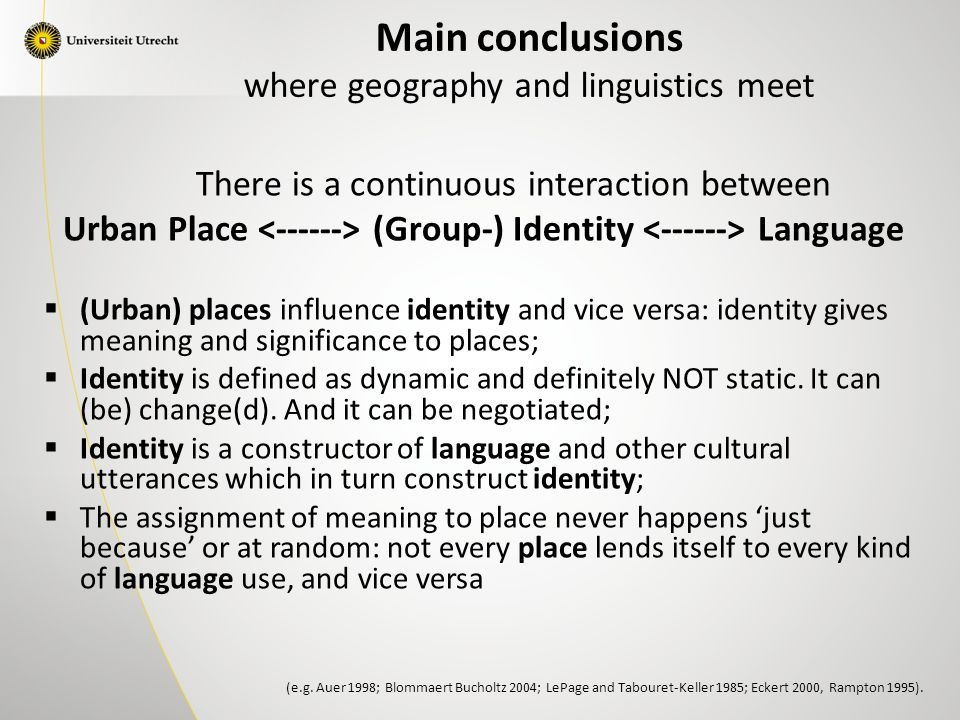 There is a continuous interaction between Urban Place (Group-) Identity Language  (Urban) places influence identity and vice versa: identity gives meaning and significance to places;  Identity is defined as dynamic and definitely NOT static.