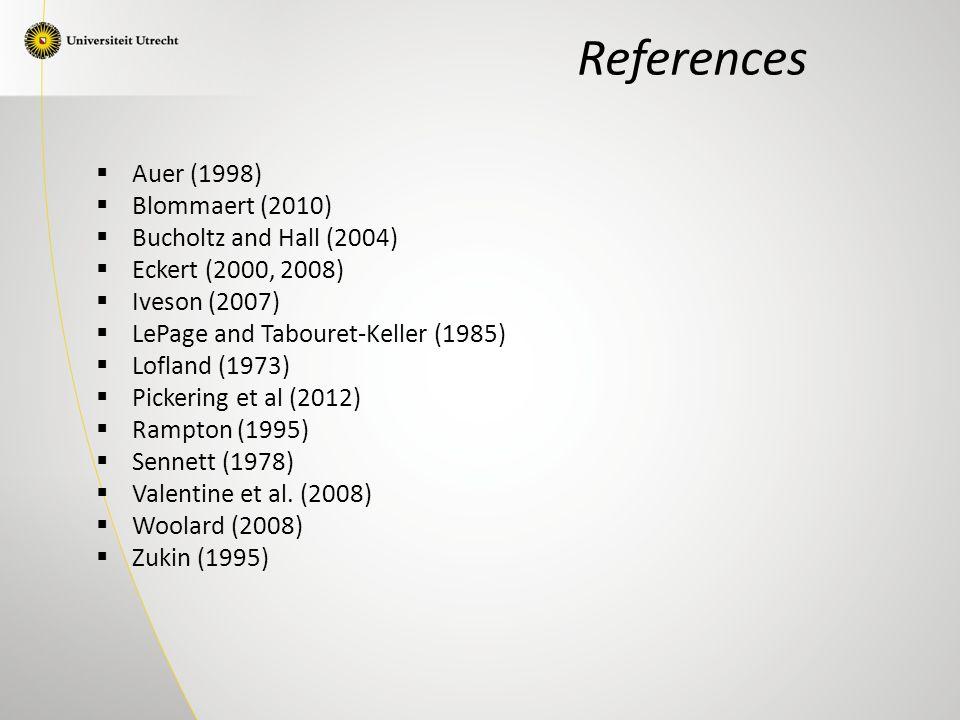 References  Auer (1998)  Blommaert (2010)  Bucholtz and Hall (2004)  Eckert (2000, 2008)  Iveson (2007)  LePage and Tabouret-Keller (1985)  Lofland (1973)  Pickering et al (2012)  Rampton (1995)  Sennett (1978)  Valentine et al.