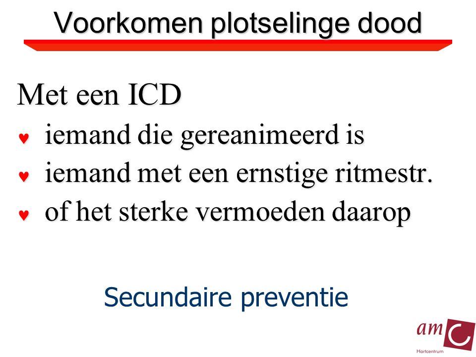 Met een ICD iemand die gereanimeerd is iemand die gereanimeerd is iemand met een ernstige ritmestr.