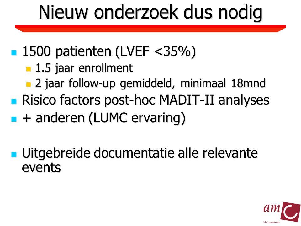 Nieuw onderzoek dus nodig 1500 patienten (LVEF <35%) 1500 patienten (LVEF <35%) 1.5 jaar enrollment 1.5 jaar enrollment 2 jaar follow-up gemiddeld, minimaal 18mnd 2 jaar follow-up gemiddeld, minimaal 18mnd Risico factors post-hoc MADIT-II analyses Risico factors post-hoc MADIT-II analyses + anderen (LUMC ervaring) + anderen (LUMC ervaring) Uitgebreide documentatie alle relevante events Uitgebreide documentatie alle relevante events