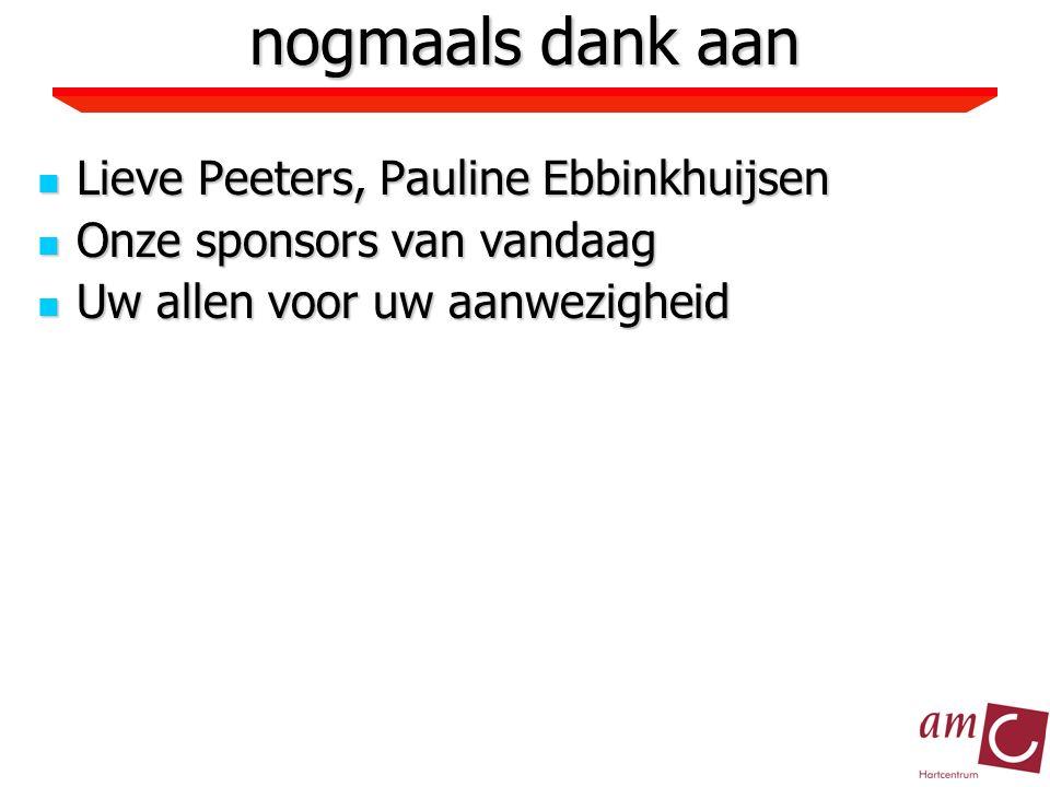nogmaals dank aan Lieve Peeters, Pauline Ebbinkhuijsen Lieve Peeters, Pauline Ebbinkhuijsen Onze sponsors van vandaag Onze sponsors van vandaag Uw allen voor uw aanwezigheid Uw allen voor uw aanwezigheid