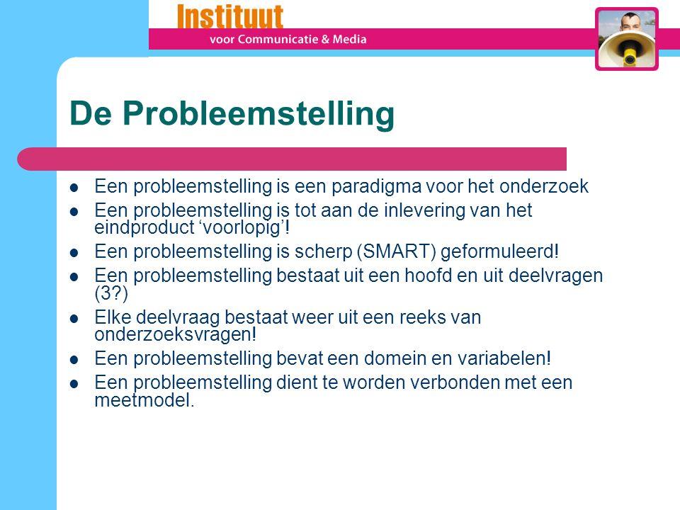 De Probleemstelling Een probleemstelling is een paradigma voor het onderzoek Een probleemstelling is tot aan de inlevering van het eindproduct 'voorlopig'.